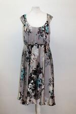 MONSOON Ladies Grey Cap Sleeve Scoop Neck Floral Print Skater Dress UK10 EU38