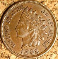 1898 Indian Head Cent - AU++ SNOW-22, POLIQUIN VAR-23 PLATE  (J210)