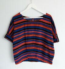 STELLA // Size 10 // Boxy Stripe Button Tab Sleeve Blouse