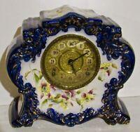 Rare Gilbert No. 411 Cobalt Blue Porcelain 8-Day Mantel Clock -For Restoration