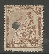 SPAIN ESPAÑA 1873  ALEGORIA  TELEGRAFOS 10Ptas. EDIFIL Nº140T