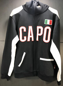 Capo Cycling Jacket Men's Large Black and White Full Zip Flag of Italy