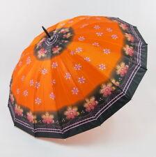 Orange Umbrella with Flower and Black Border, Gold Curved Handle