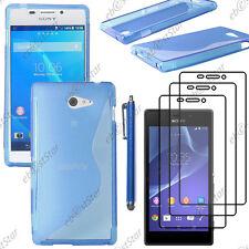 Housse Etui Coque Silicone S-line Bleu Sony Xperia M2 D2303+Stylet+3 Film écran