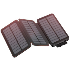Hiluckey Solar Charger 24000mAh Portable Phone Charger Power Bank with 3 Solar