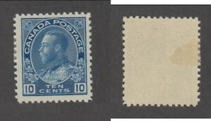 Mint Canada 10 Cent KGV Admiral Stamp Dry Printing, Blue #117a (Lot #18671)
