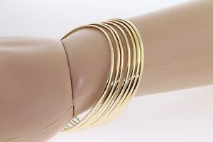 Seven Day Bangle Bracelet 10 K Or 14 K Solid Gold 7, 2.00 mm Half Round Bangles