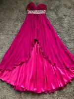 MoriLee by Madeline Gardner Magenta High-Low Rhinestone Evening Gown Size 7/8
