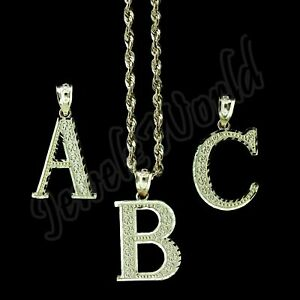 10K Yellow Gold Diamond Cut Initial Letter Charm Pendant A-Z Alphabet Rope Chain