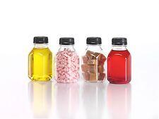(6) 8 oz Clear Food Grade Plastic Juice Bottles with Black Caps