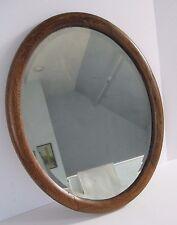 Antique Oval Oak Wood Framed Beveled Glass Mirror