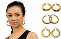 Pair 9ct Gold Filled Creole Round Large Hoops Earrings Jewelry Womens