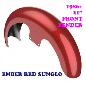 "Ember Red Sunglo 21"" Reveal Wrapper Hugger Front Fender For 86-20 Harley Touring"