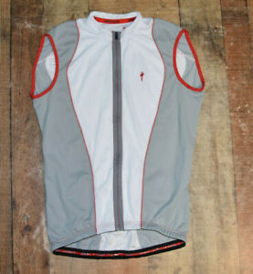 Specialized Full Zip Sleeveless Cycling Jersey Shirt Gray White Red Men Large