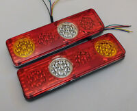 PAIR 24V LED REAR TAIL LIGHTS LAMP 6 FUNCTION TRAILER TRUCK LORRY RECOVERY 36LED