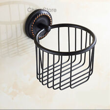 Bathroom Toilet Roll Paper Holder Wall Mount Tissue Storage Basket Brass Black