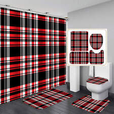 Black White Red Striped Shower Curtain Bath Mat Toilet Cover Rug Bathroom Decor