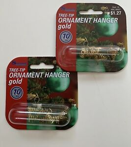 New Christmas Ornament Hanger for Tree Tips 2 pkgs of 10 each Gold color