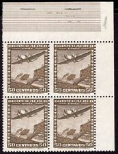 CHILE 1936 AIR MAIL STAMP # 225 wmk 1 MNH BLOCK OF FOUR AIRPLANE CORNER SHEET