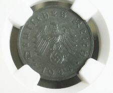 NGC MS-63 NAZI SWASTIKA D-Day year 1944-F 10 Pfennig COIN-Germany 3rd-REICH MINT
