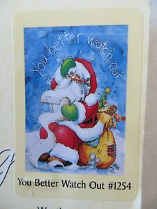 """You Better Watch Out Standard House Flag by Toland 24"""" x 36"""", Santa #1254 NEW"""