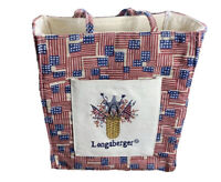 Longaberger Homestead Flags Basket 4th Of July Tiny Tote Fabric Lunch Bag Small