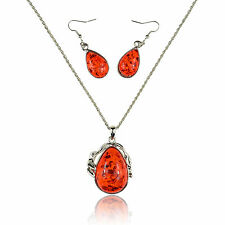 """Faux Red Amber White Gold Plated 2"""" Pendant + 21"""" Chain Necklace + Earrings"""