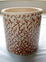Lovely Vintage Brown On Tan Pottery Crock