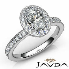 Oval Diamond Unique Engagement Halo Pave Set Wedding Ring GIA D SI1 Platinum 1Ct