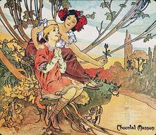 "Alphonse (Alfons) Mucha- Chocolat Mexicain, Adolescence, 1897- 24x20"" CANVAS ART"