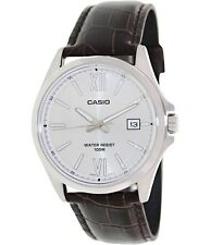 Casio MTP1376L-7A Mens Brown Leather Dress Watch 100M Roman Numerals Silver Dial