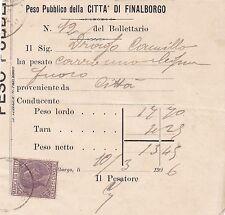 PESO PUBBLICO FINALBORGO FINALE LIGURE MARCA BOLLO 5 CENT 1906 MILITARI 3-235