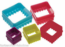 Kitchen Craft Set of 5 Fluted & Plain Square Biscuit Pastry Cookie Cutters & Tub