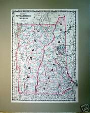 Antique Vintage Engraved Map ~ New Hampshire, Vermont ~ 1862