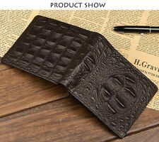 Genuine 100% Crocodile Alligator Skin Bifold Leather Mens black wallet