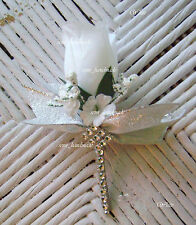 Bling*Wedding*Boutonniere*Corsage*Silver*White*Ivory*Pink*Blue*Champagne*Groom