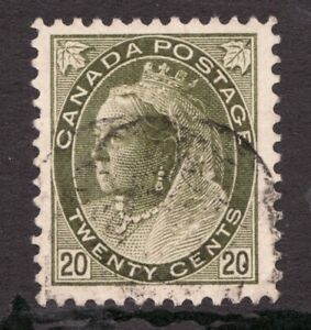 Sc #84 - Canada - 1900 - 20c - Numeral Queen - Used - superfleas - cv$160