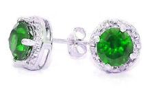 2 Carat Emerald & Diamond Round Stud Earrings 14Kt White Gold