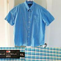M&S Blue Harbour Blue Check Shirt 2XL XXL Chest 47 - 49 S/Sleeve 100% Cotton