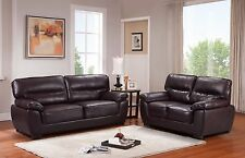 Tan Brown High Grade Faux Leather 3 Seater 2 Armchairs Sofa Suite Sylvanna
