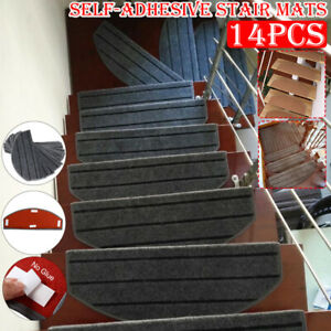 14X Non Slip Stair Treads Self-adhesive Stair Mat Sticky Bottom Carpet Pads Home