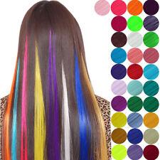 12 Farben Bunte Clip in Extensions Haarsträhnen Haarverlängerung Lang 50cm Neu