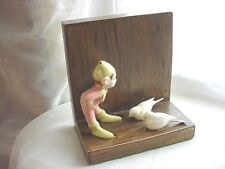 Vtg Pixie Elf Bookend with Doves Ceramic on Wood 5 inch