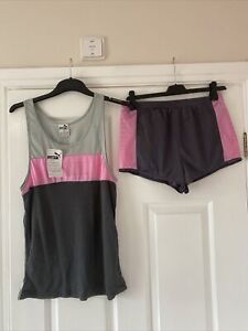 New  Vintage Ladies Puma Running Top / Shorts Set Medium 10-12
