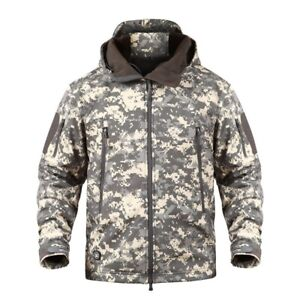 Men Jacket Showerproof Jungle Print Army Camouflage Hunting Jacket Coat S-3XL