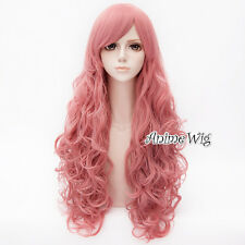 Steven Universe Rose Quartz Long Pink Curly Hair Women Anime Cosplay Wig 80CM