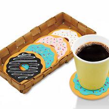 4PCS Silicone Cute Donut Coasters Coffee Tea Cup Cushion Mug Holder Pad Mat Gift