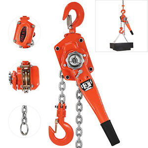 3 Ton 3M Ratcheting Lever Block Chain Hoist Come Along Puller Pulley 3000 kg