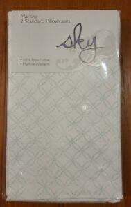 2 Standard Pillowcases Sky MARTINA Collection Pima Cotton MINT Green WHITE $70