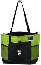 Boston Terrier Monogram Lime Gemline Zipper Tote Bag Puppy Dog Pet Adopt Gift